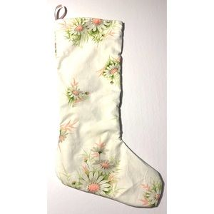 Vintage Pink Daisy Floral Christmas Stocking